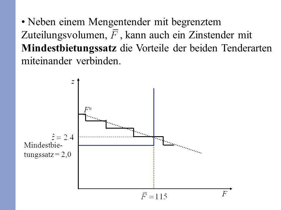 Neben einem Mengentender mit begrenztem Zuteilungsvolumen,, kann auch ein Zinstender mit Mindestbietungssatz die Vorteile der beiden Tenderarten mitei