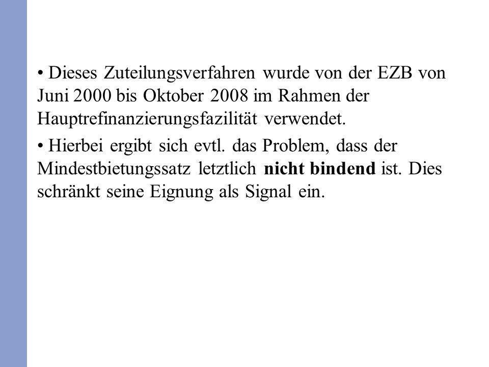 Dieses Zuteilungsverfahren wurde von der EZB von Juni 2000 bis Oktober 2008 im Rahmen der Hauptrefinanzierungsfazilität verwendet. Hierbei ergibt sich
