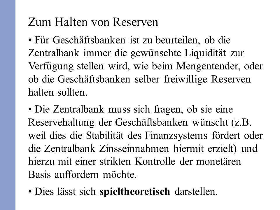 Zum Halten von Reserven Für Geschäftsbanken ist zu beurteilen, ob die Zentralbank immer die gewünschte Liquidität zur Verfügung stellen wird, wie beim