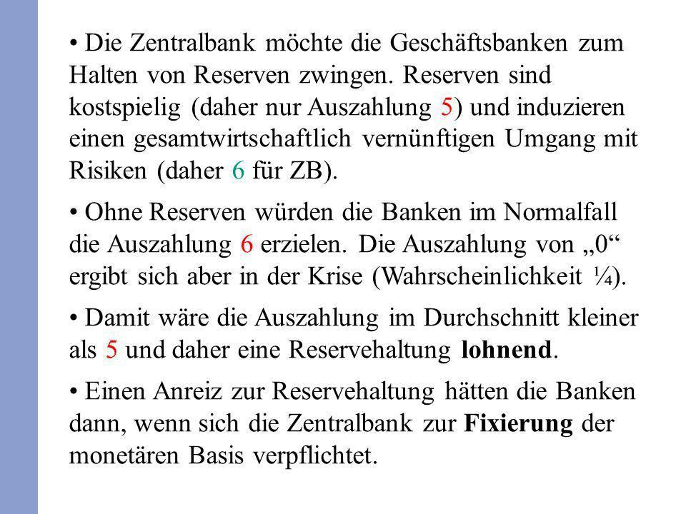Die Zentralbank möchte die Geschäftsbanken zum Halten von Reserven zwingen. Reserven sind kostspielig (daher nur Auszahlung 5) und induzieren einen ge