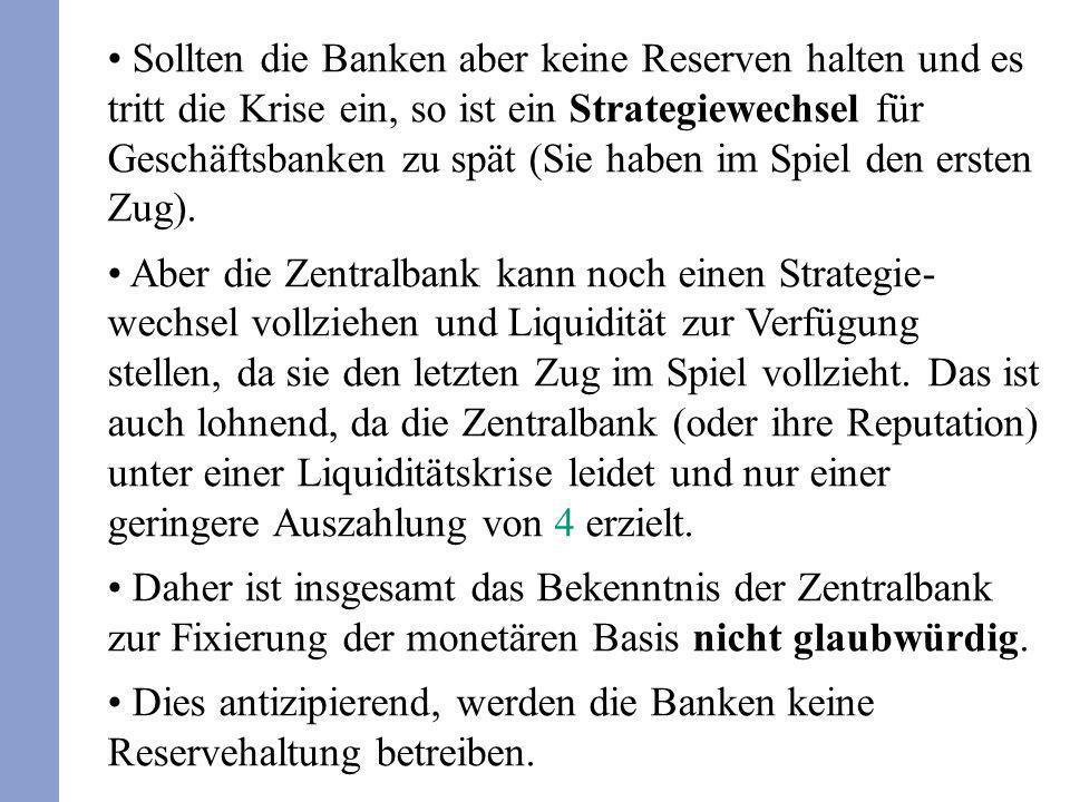 Sollten die Banken aber keine Reserven halten und es tritt die Krise ein, so ist ein Strategiewechsel für Geschäftsbanken zu spät (Sie haben im Spiel