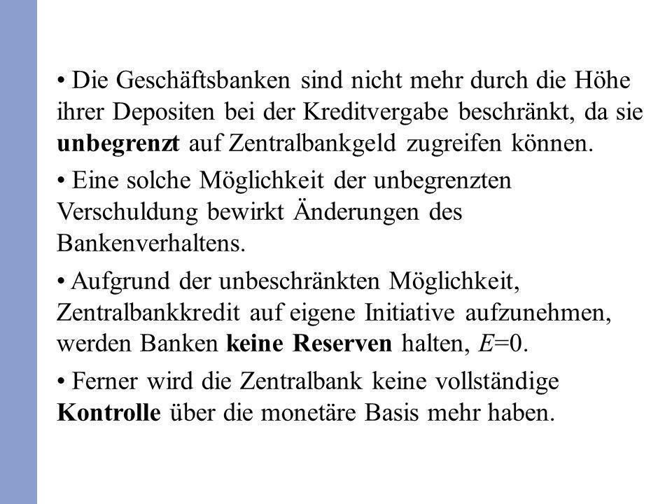 Im Rahmen der Bilanzrestriktion der Zentralbank gilt aufgrund von E=0: R+F=C+MR=B.