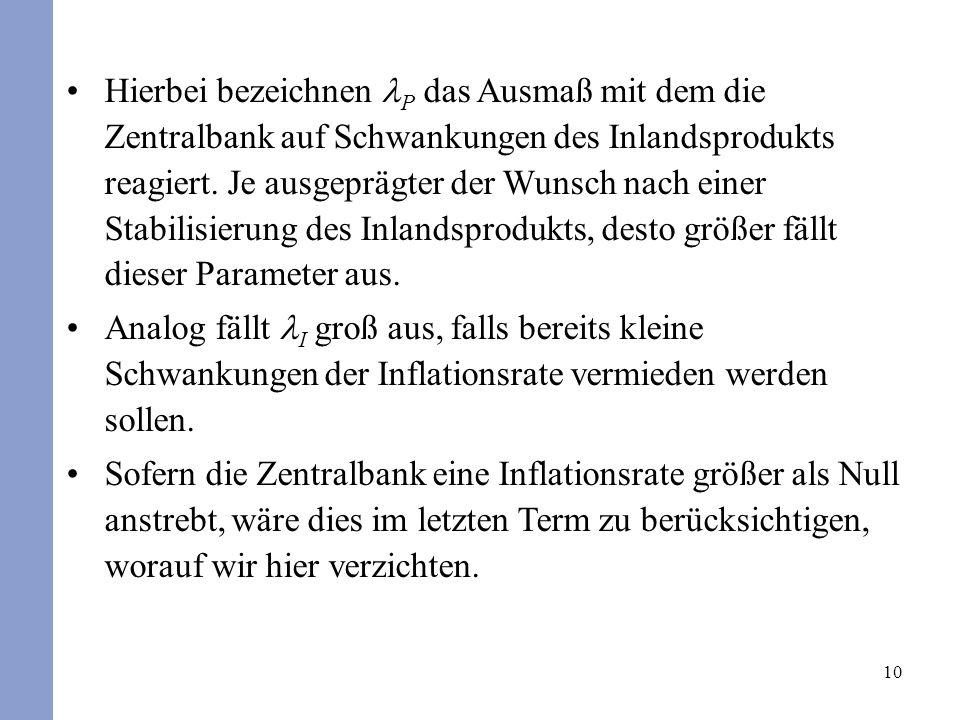 10 Hierbei bezeichnen P das Ausmaß mit dem die Zentralbank auf Schwankungen des Inlandsprodukts reagiert. Je ausgeprägter der Wunsch nach einer Stabil