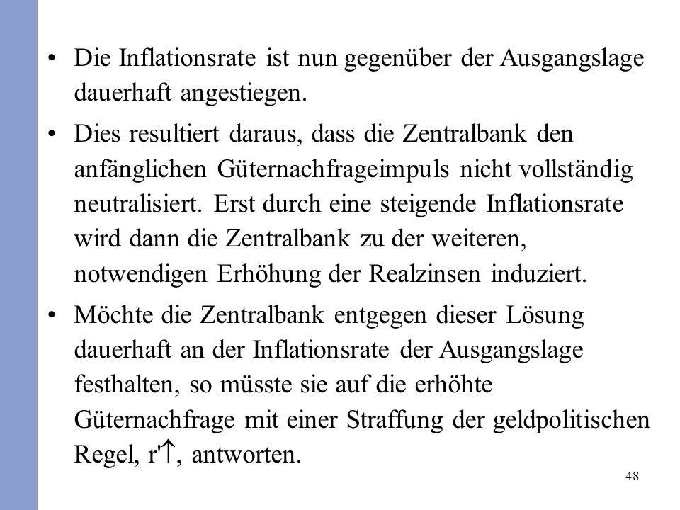 48 Die Inflationsrate ist nun gegenüber der Ausgangslage dauerhaft angestiegen. Dies resultiert daraus, dass die Zentralbank den anfänglichen Güternac