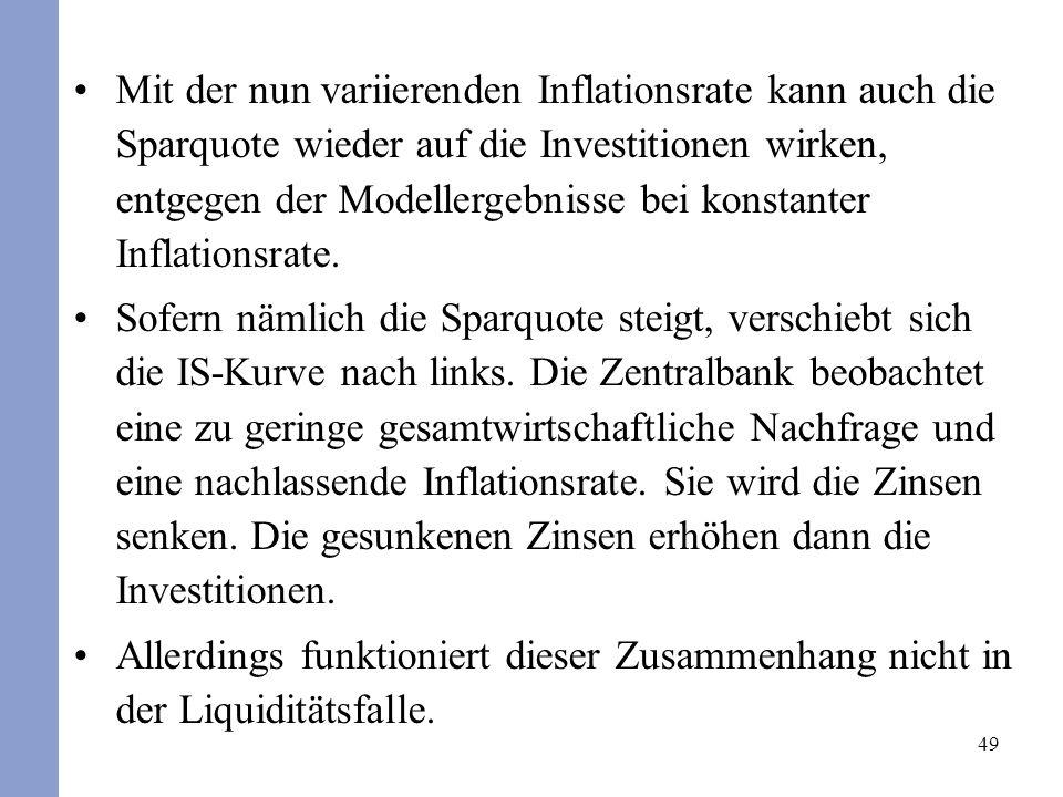 49 Mit der nun variierenden Inflationsrate kann auch die Sparquote wieder auf die Investitionen wirken, entgegen der Modellergebnisse bei konstanter I