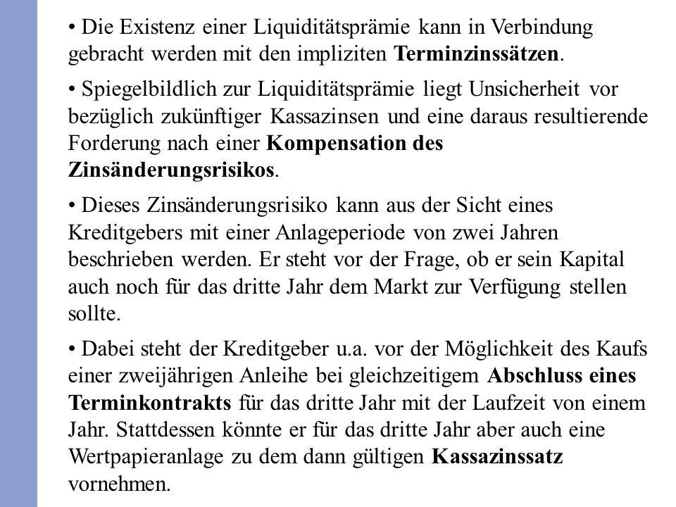 Die Existenz einer Liquiditätsprämie kann in Verbindung gebracht werden mit den impliziten Terminzinssätzen. Spiegelbildlich zur Liquiditätsprämie lie