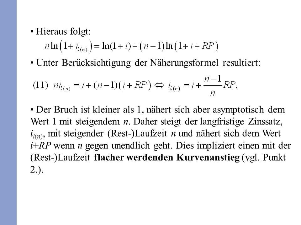 Hieraus folgt: Unter Berücksichtigung der Näherungsformel resultiert: Der Bruch ist kleiner als 1, nähert sich aber asymptotisch dem Wert 1 mit steige