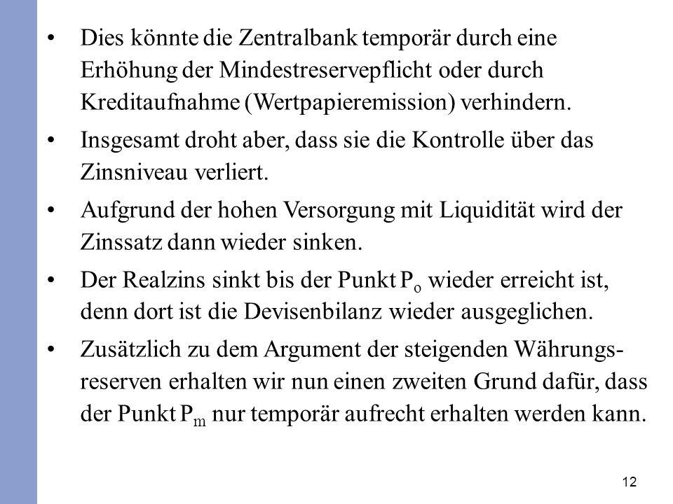 12 Dies könnte die Zentralbank temporär durch eine Erhöhung der Mindestreservepflicht oder durch Kreditaufnahme (Wertpapieremission) verhindern. Insge