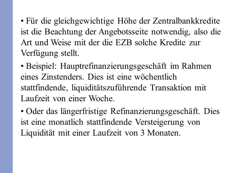 Für die gleichgewichtige Höhe der Zentralbankkredite ist die Beachtung der Angebotsseite notwendig, also die Art und Weise mit der die EZB solche Kred