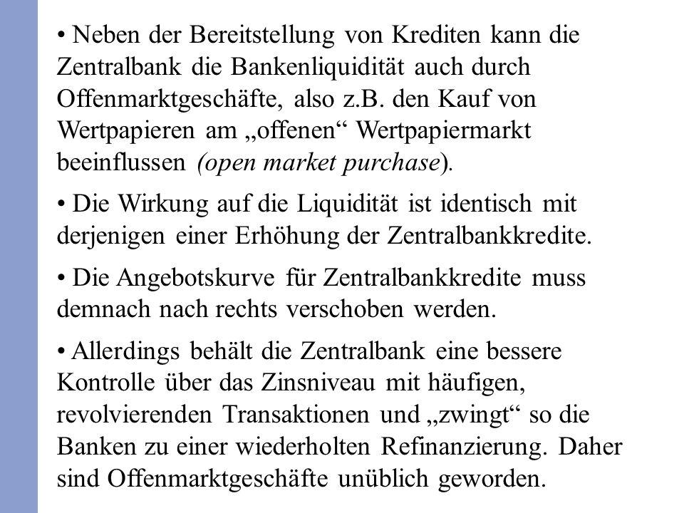 Neben der Bereitstellung von Krediten kann die Zentralbank die Bankenliquidität auch durch Offenmarktgeschäfte, also z.B. den Kauf von Wertpapieren am
