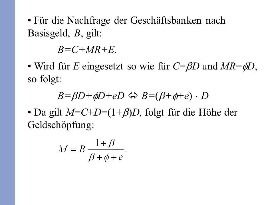 Für die Nachfrage der Geschäftsbanken nach Basisgeld, B, gilt: B=C+MR+E. Wird für E eingesetzt so wie für C= D und MR= D, so folgt: B= D+ D+eD B=( + +