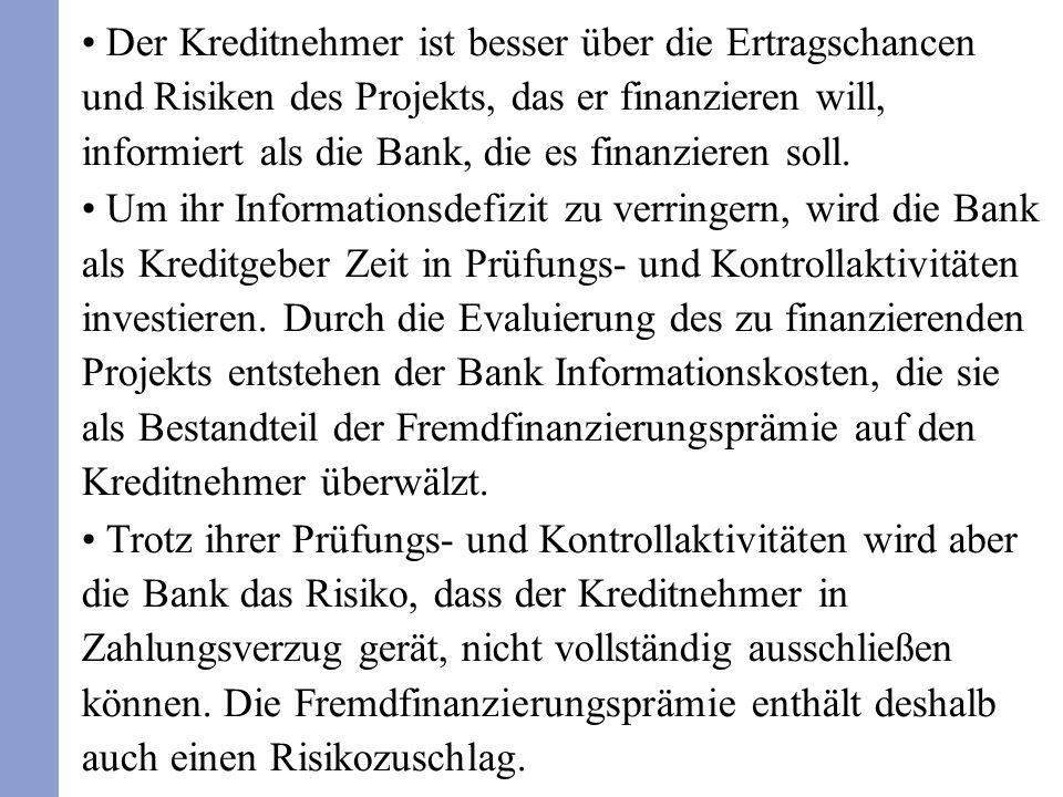 Der Kreditnehmer ist besser über die Ertragschancen und Risiken des Projekts, das er finanzieren will, informiert als die Bank, die es finanzieren soll.