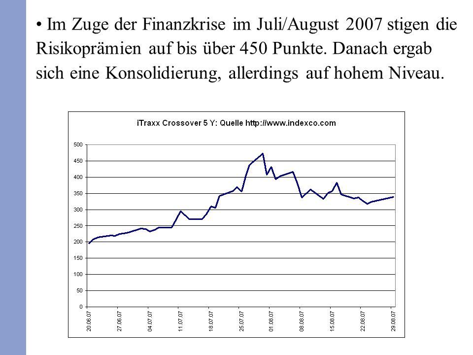 Im Zuge der Finanzkrise im Juli/August 2007 stigen die Risikoprämien auf bis über 450 Punkte.