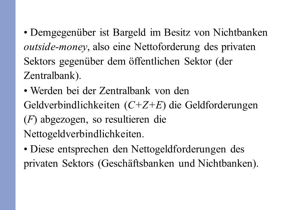 Demgegenüber ist Bargeld im Besitz von Nichtbanken outside-money, also eine Nettoforderung des privaten Sektors gegenüber dem öffentlichen Sektor (der Zentralbank).