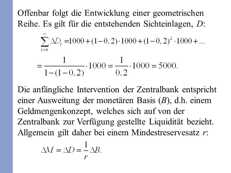 Offenbar folgt die Entwicklung einer geometrischen Reihe. Es gilt für die entstehenden Sichteinlagen, D: Die anfängliche Intervention der Zentralbank