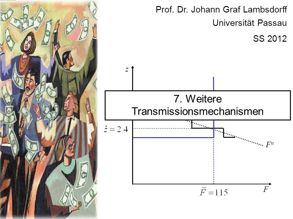 F FnFn z Prof. Dr. Johann Graf Lambsdorff Universität Passau SS 2012 7. Weitere Transmissionsmechanismen