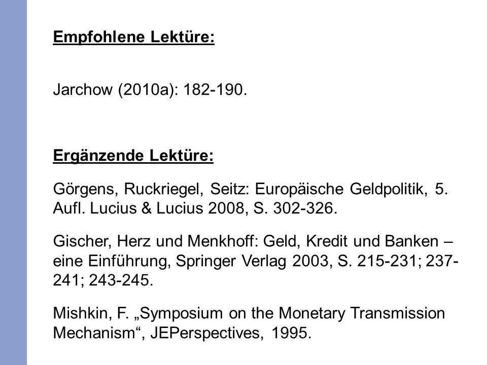 Empfohlene Lektüre: Jarchow (2010a): 182-190. Ergänzende Lektüre: Görgens, Ruckriegel, Seitz: Europäische Geldpolitik, 5. Aufl. Lucius & Lucius 2008,