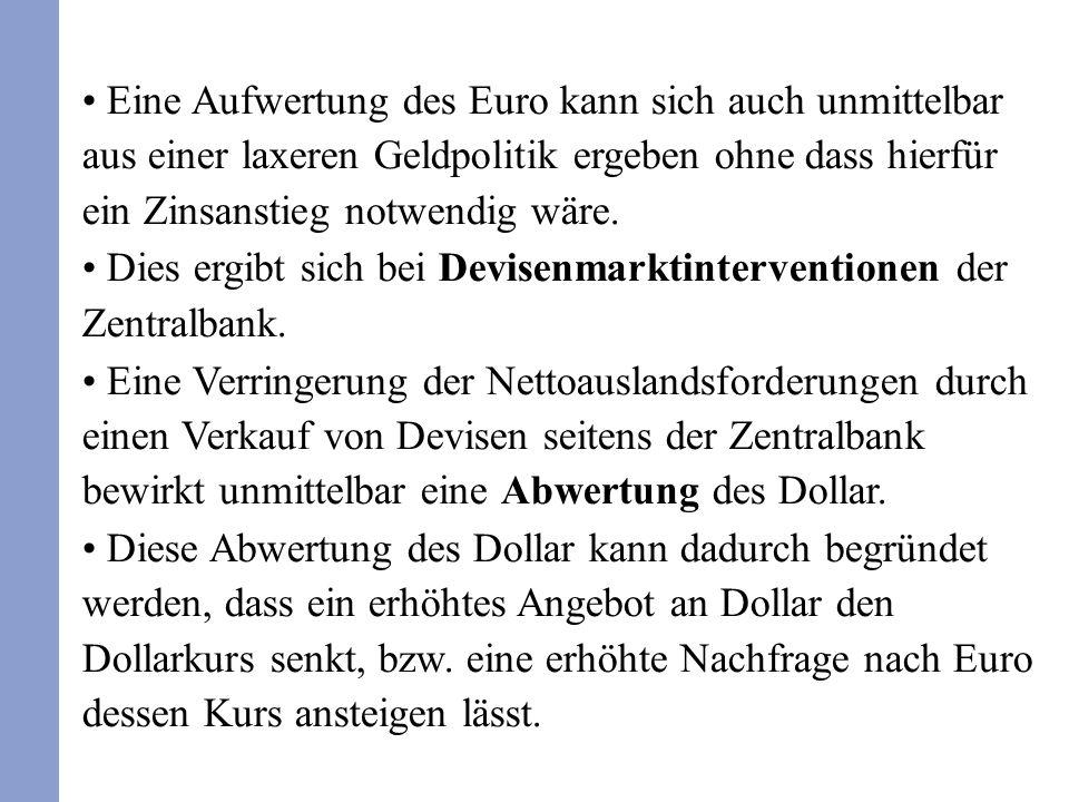 Eine Aufwertung des Euro kann sich auch unmittelbar aus einer laxeren Geldpolitik ergeben ohne dass hierfür ein Zinsanstieg notwendig wäre. Dies ergib