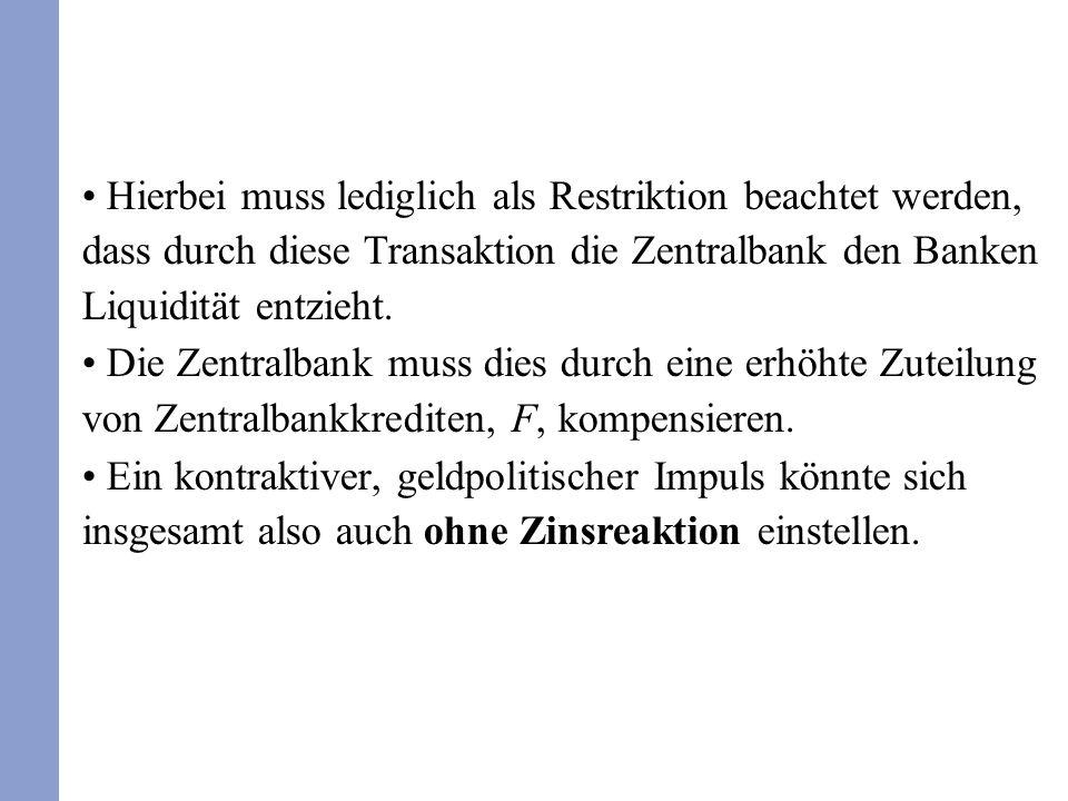 Hierbei muss lediglich als Restriktion beachtet werden, dass durch diese Transaktion die Zentralbank den Banken Liquidität entzieht. Die Zentralbank m