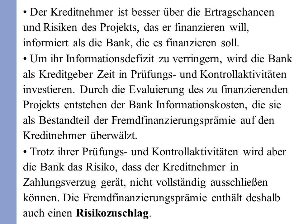 Der Kreditnehmer ist besser über die Ertragschancen und Risiken des Projekts, das er finanzieren will, informiert als die Bank, die es finanzieren sol