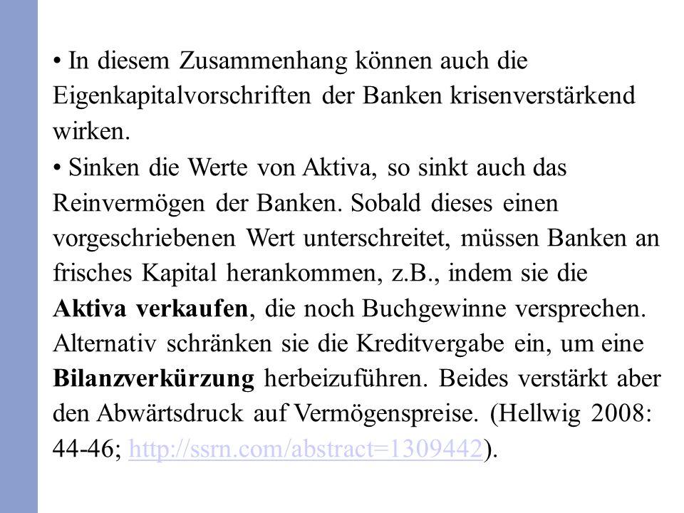 In diesem Zusammenhang können auch die Eigenkapitalvorschriften der Banken krisenverstärkend wirken. Sinken die Werte von Aktiva, so sinkt auch das Re
