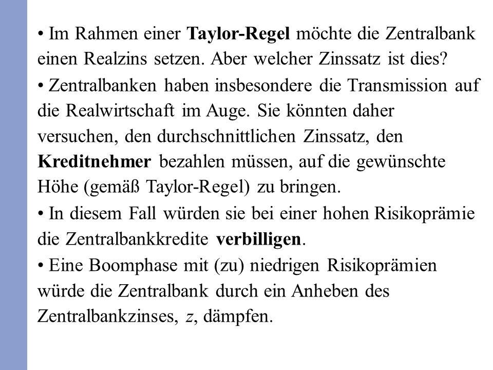 Im Rahmen einer Taylor-Regel möchte die Zentralbank einen Realzins setzen. Aber welcher Zinssatz ist dies? Zentralbanken haben insbesondere die Transm