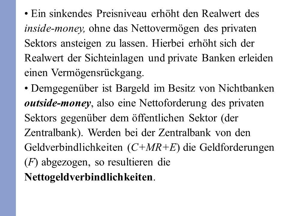 Ein sinkendes Preisniveau erhöht den Realwert des inside-money, ohne das Nettovermögen des privaten Sektors ansteigen zu lassen. Hierbei erhöht sich d