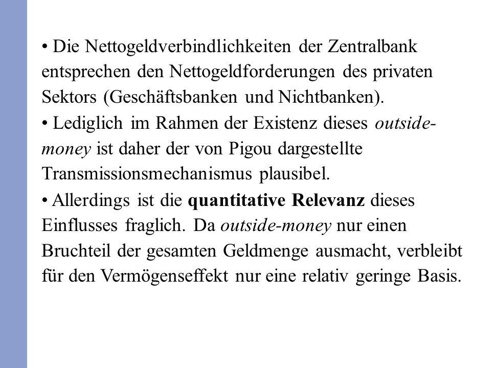 Die Nettogeldverbindlichkeiten der Zentralbank entsprechen den Nettogeldforderungen des privaten Sektors (Geschäftsbanken und Nichtbanken). Lediglich