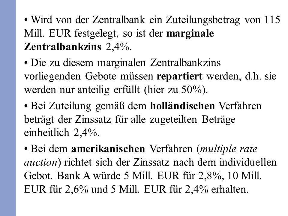 Wird von der Zentralbank ein Zuteilungsbetrag von 115 Mill. EUR festgelegt, so ist der marginale Zentralbankzins 2,4%. Die zu diesem marginalen Zentra