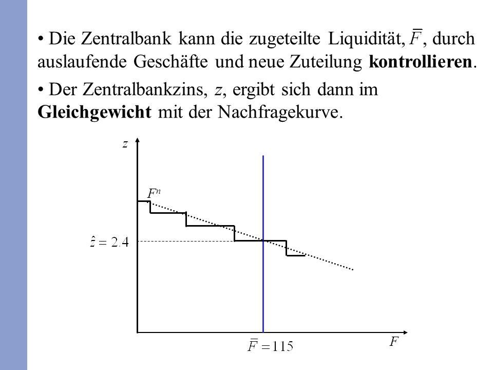Die Zentralbank kann die zugeteilte Liquidität,, durch auslaufende Geschäfte und neue Zuteilung kontrollieren. Der Zentralbankzins, z, ergibt sich dan