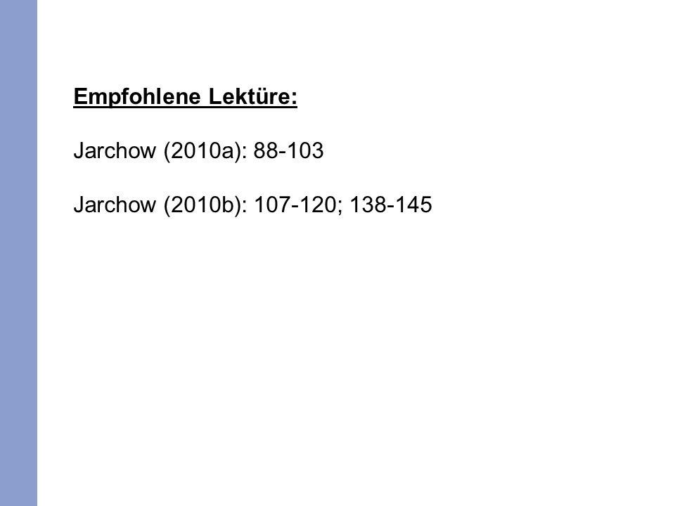 Empfohlene Lektüre: Jarchow (2010a): 88-103 Jarchow (2010b): 107-120; 138-145