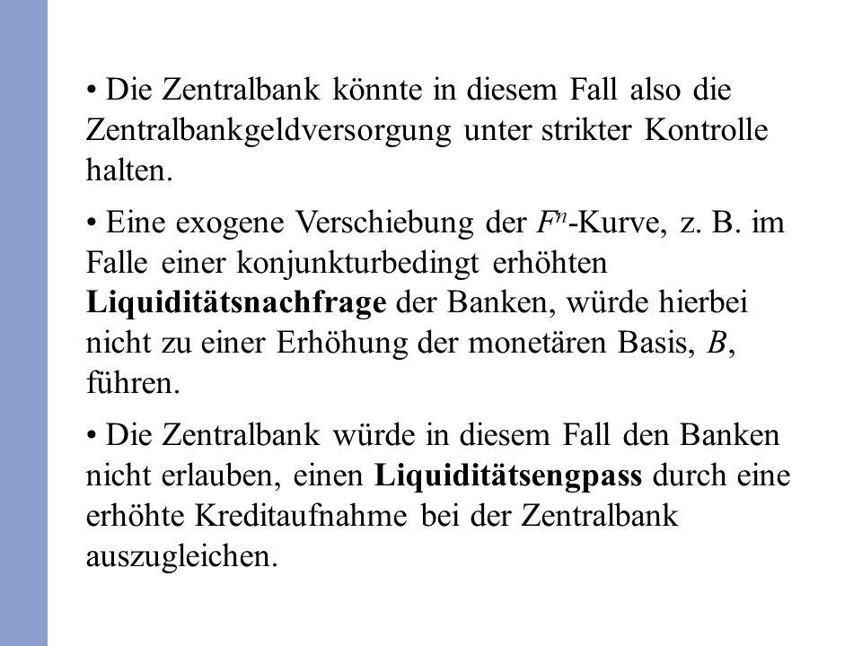 Die Zentralbank könnte in diesem Fall also die Zentralbankgeldversorgung unter strikter Kontrolle halten. Eine exogene Verschiebung der F n -Kurve, z.