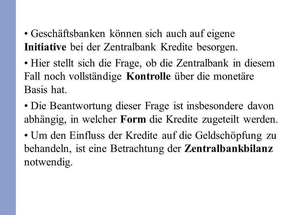 Geschäftsbanken können sich auch auf eigene Initiative bei der Zentralbank Kredite besorgen. Hier stellt sich die Frage, ob die Zentralbank in diesem