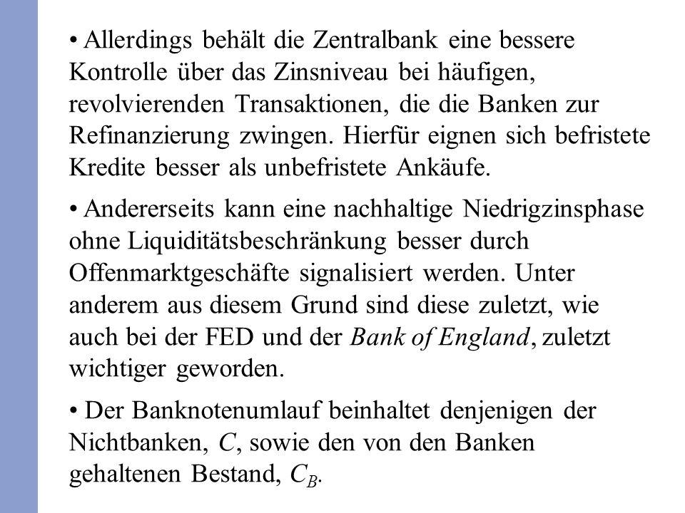 Allerdings behält die Zentralbank eine bessere Kontrolle über das Zinsniveau bei häufigen, revolvierenden Transaktionen, die die Banken zur Refinanzie