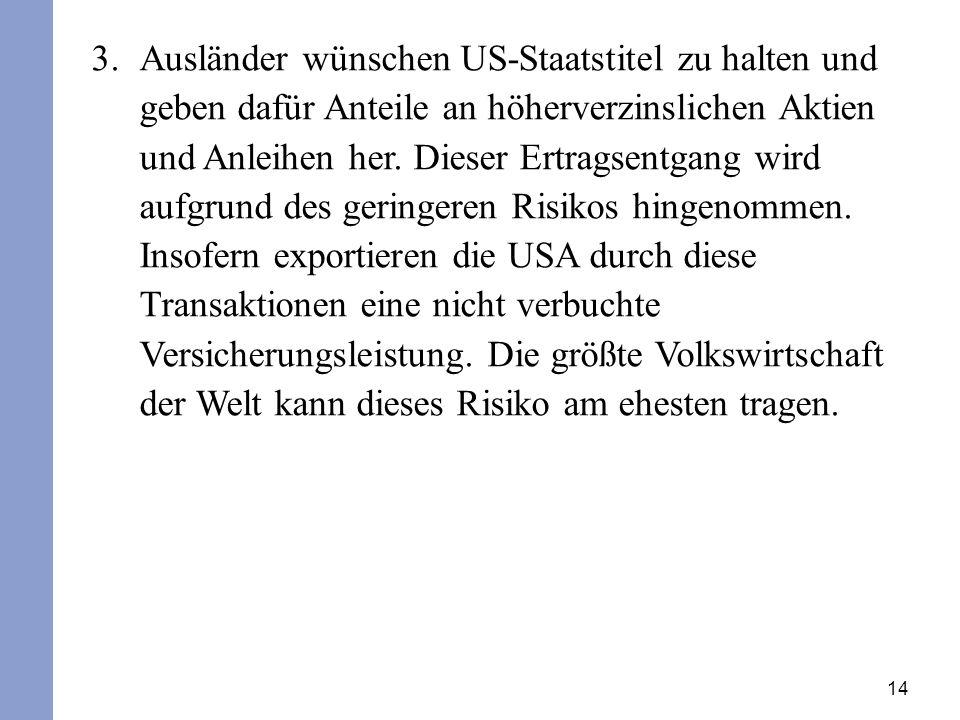 14 3.Ausländer wünschen US-Staatstitel zu halten und geben dafür Anteile an höherverzinslichen Aktien und Anleihen her.