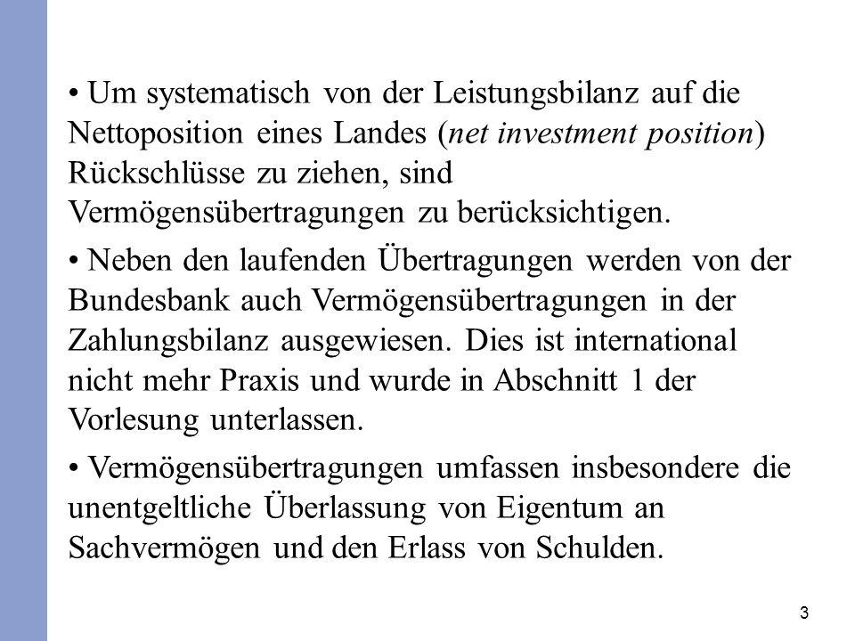 3 Um systematisch von der Leistungsbilanz auf die Nettoposition eines Landes (net investment position) Rückschlüsse zu ziehen, sind Vermögensübertragungen zu berücksichtigen.