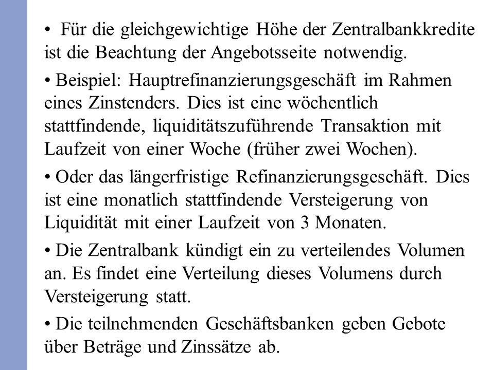 Für die gleichgewichtige Höhe der Zentralbankkredite ist die Beachtung der Angebotsseite notwendig. Beispiel: Hauptrefinanzierungsgeschäft im Rahmen e