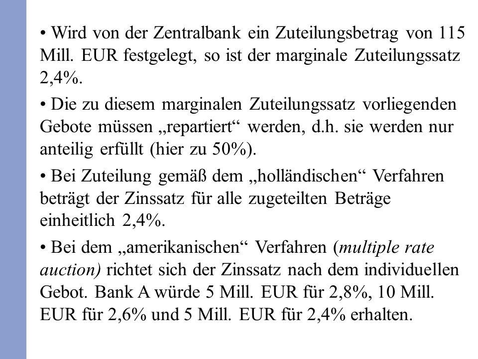 Wird von der Zentralbank ein Zuteilungsbetrag von 115 Mill. EUR festgelegt, so ist der marginale Zuteilungssatz 2,4%. Die zu diesem marginalen Zuteilu