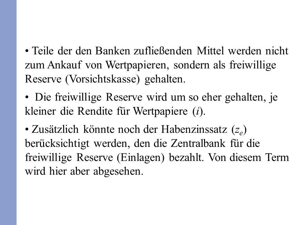 Teile der den Banken zufließenden Mittel werden nicht zum Ankauf von Wertpapieren, sondern als freiwillige Reserve (Vorsichtskasse) gehalten. Die frei