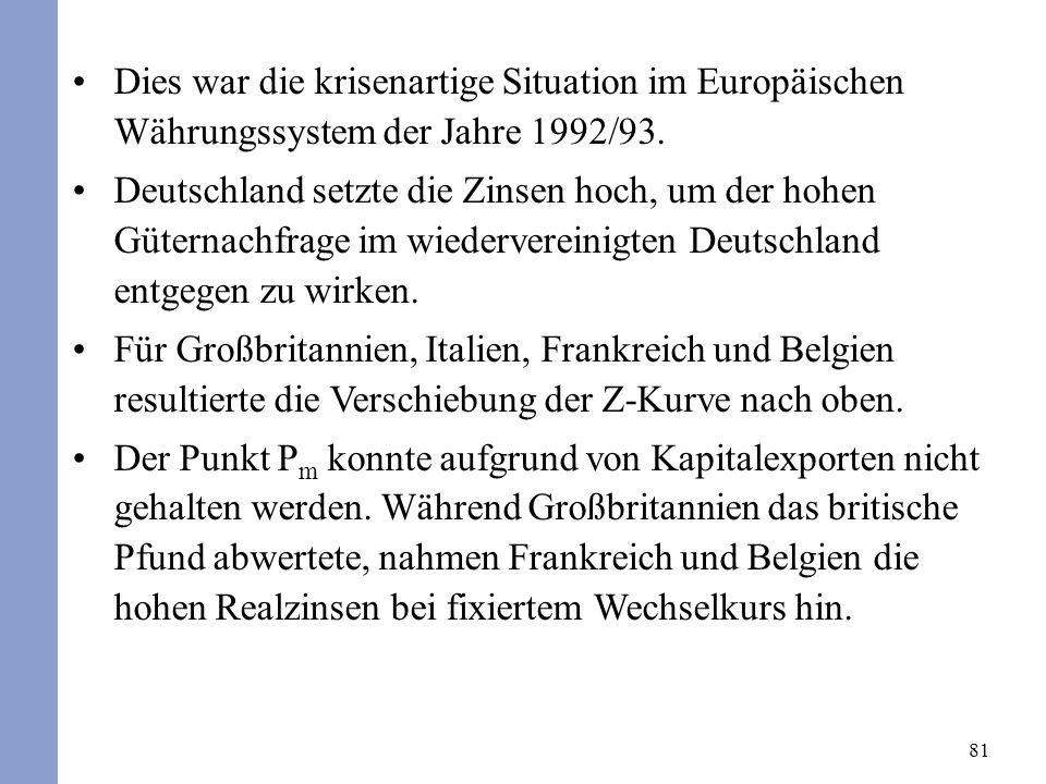 81 Dies war die krisenartige Situation im Europäischen Währungssystem der Jahre 1992/93. Deutschland setzte die Zinsen hoch, um der hohen Güternachfra