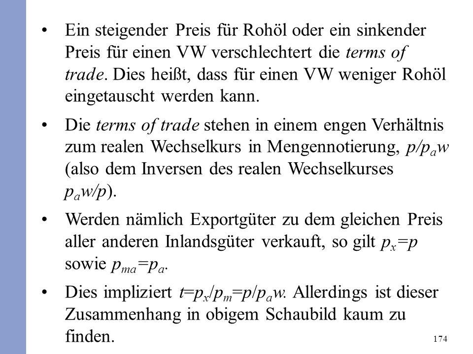 174 Ein steigender Preis für Rohöl oder ein sinkender Preis für einen VW verschlechtert die terms of trade. Dies heißt, dass für einen VW weniger Rohö