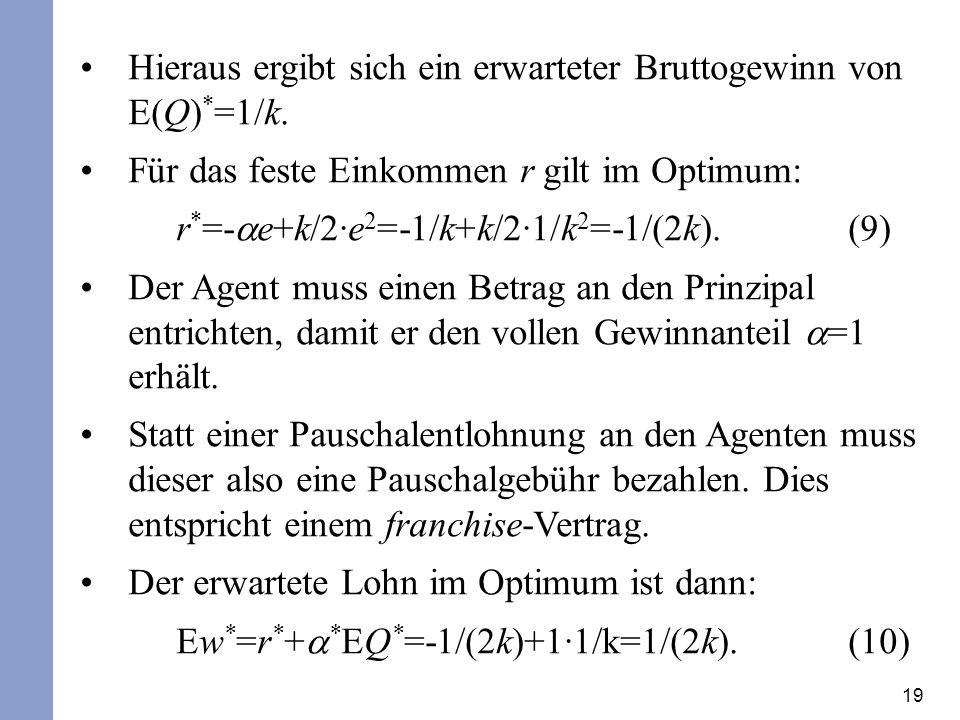 19 Hieraus ergibt sich ein erwarteter Bruttogewinn von E(Q) * =1/k.