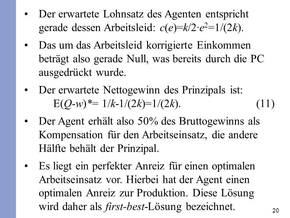 20 Der erwartete Lohnsatz des Agenten entspricht gerade dessen Arbeitsleid: c(e)=k/2·e 2 =1/(2k).