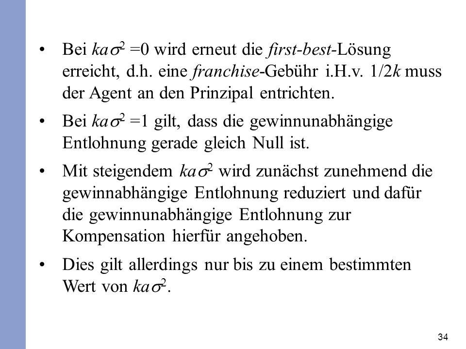 34 Bei ka 2 =0 wird erneut die first-best-Lösung erreicht, d.h.