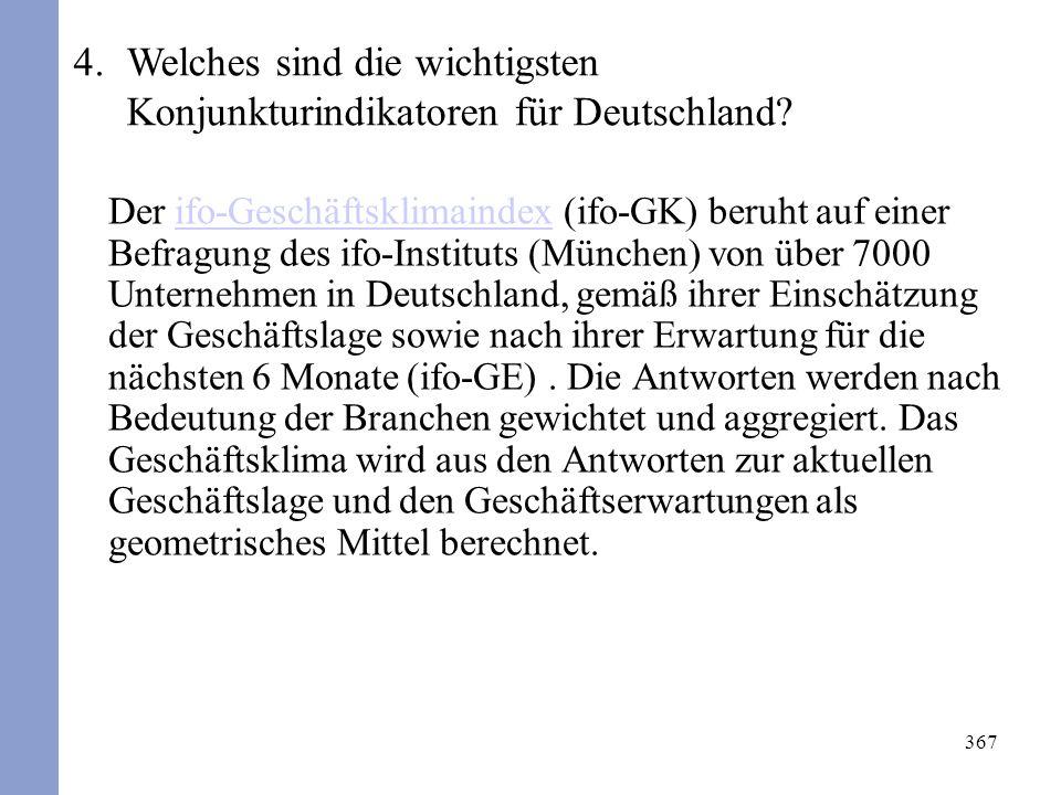 367 Der ifo-Geschäftsklimaindex (ifo-GK) beruht auf einer Befragung des ifo-Instituts (München) von über 7000 Unternehmen in Deutschland, gemäß ihrer Einschätzung der Geschäftslage sowie nach ihrer Erwartung für die nächsten 6 Monate (ifo-GE).