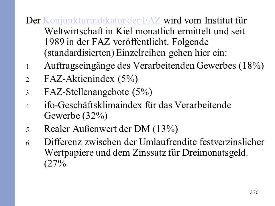 370 Der Konjunkturindikator der FAZ wird vom Institut für Weltwirtschaft in Kiel monatlich ermittelt und seit 1989 in der FAZ veröffentlicht.