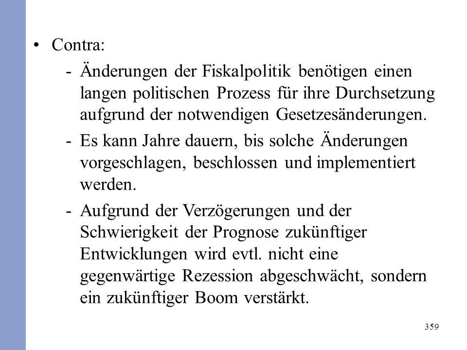 359 Contra: -Änderungen der Fiskalpolitik benötigen einen langen politischen Prozess für ihre Durchsetzung aufgrund der notwendigen Gesetzesänderungen.