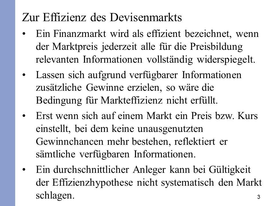 3 Zur Effizienz des Devisenmarkts Ein Finanzmarkt wird als effizient bezeichnet, wenn der Marktpreis jederzeit alle für die Preisbildung relevanten Informationen vollständig widerspiegelt.