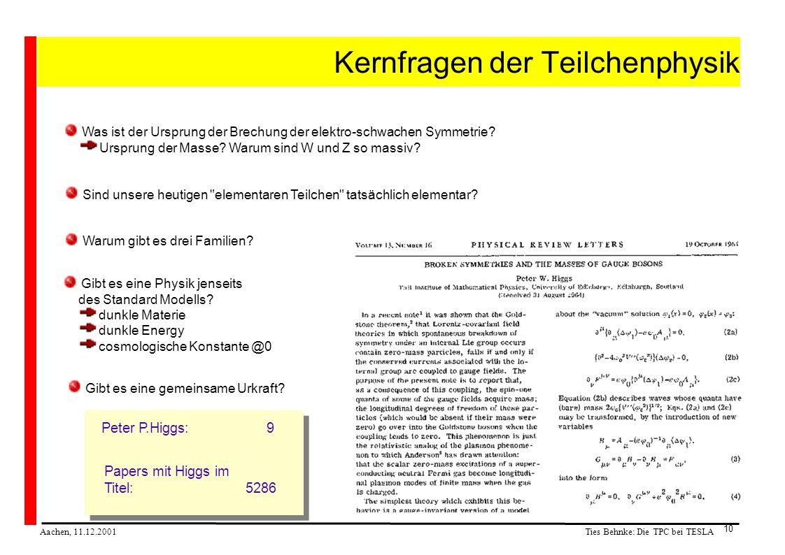 Ties Behnke: Die TPC bei TESLA Aachen, 11.12.2001 10 Kernfragen der Teilchenphysik Was ist der Ursprung der Brechung der elektro-schwachen Symmetrie.