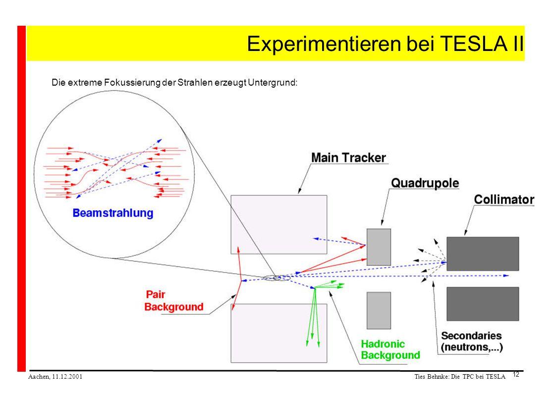 Ties Behnke: Die TPC bei TESLA Aachen, 11.12.2001 12 Experimentieren bei TESLA II Die extreme Fokussierung der Strahlen erzeugt Untergrund: ca 130000 ee Paare pro BX ca 360 TeV pro BX sehr hohe Belastung mit Untergrund dicht am Strahl einiges davon kommt auch in das Spurkammersystem gezeigt: 1% einer Kollision!